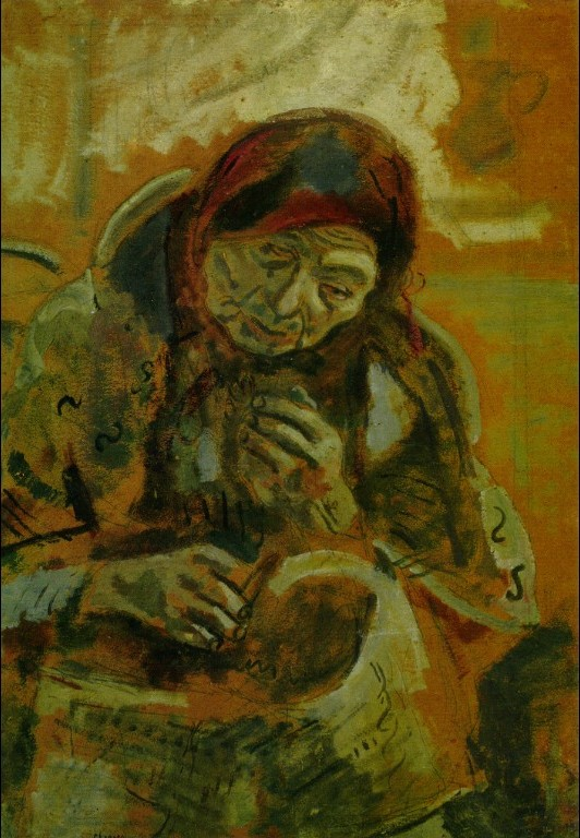 <i>Old Woman with a Ball of Yarn</i>, 1906. Marc Chagall.